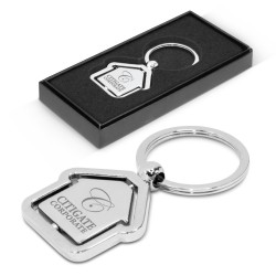 Spinning House Metal Key Ring