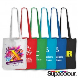 Coloured Cotton Double Long Handle Conference Bag - 140 GSM