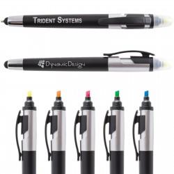 Trident Ballpoint Pen / Stylus Highlight Marker - Indent