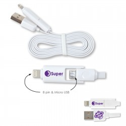 Dual 50cm Micro USB/8 Pin Connector Cable