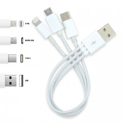 3 in 1 Combo USB Cable - Micro, 8 Pin, Type C