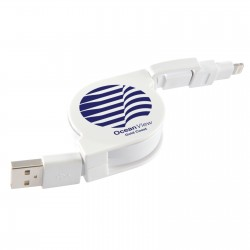 Dual Retractable Micro USB/8 Pin Connector Cable