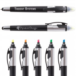 Trident Ballpoint Pen / Stylus Highlight Marker - Indent